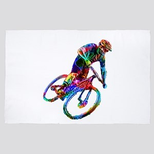 Technicolor Mountain Biker Racing Down 4' x 6' Rug