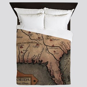 Vintage Spanish Map of Florida Discove Queen Duvet
