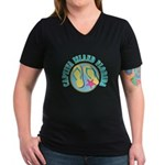 Captiva Flip Flops - Women's V-Neck Dark T-Shirt
