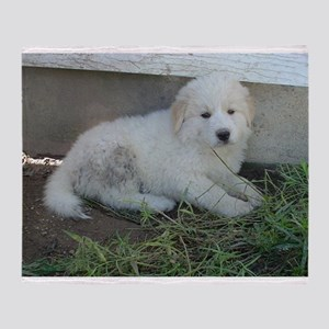 great pyreneese puppy Throw Blanket