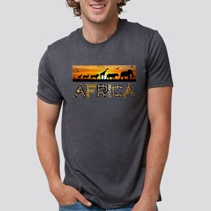 AFRICA TEXT and Animals Against Sunset Bac T-Shirt
