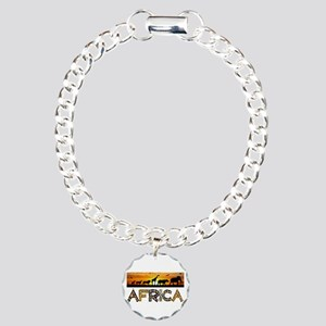AFRICA TEXT and Animals Charm Bracelet, One Charm