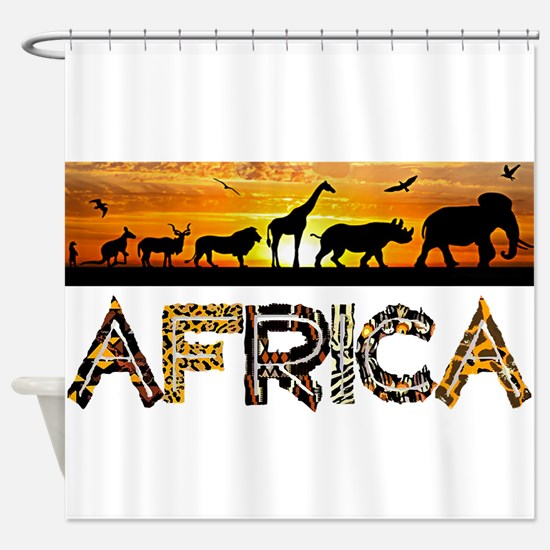 AFRICA TEXT and Animals Against Sun Shower Curtain