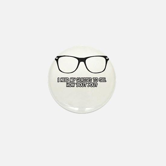 Black Geek Glasses Mini Button