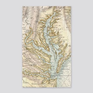 Vintage Map of The Chesapeake Bay(1778) 2 Area Rug