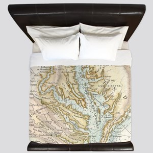Vintage Map of The Chesapeake Bay(1778) King Duvet