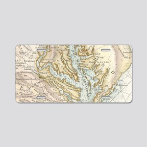 Vintage Map of The Chesapea Aluminum License Plate