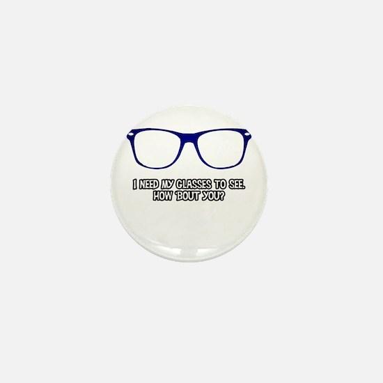 Blue Geek Glasses Mini Button