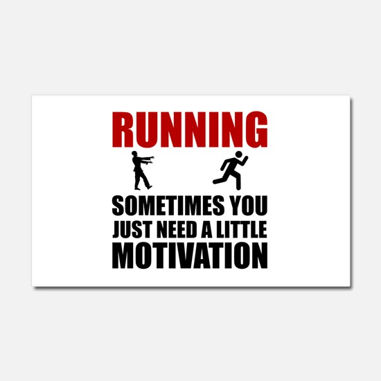 Zombie Running Motivation Car Magnet 20 x 12