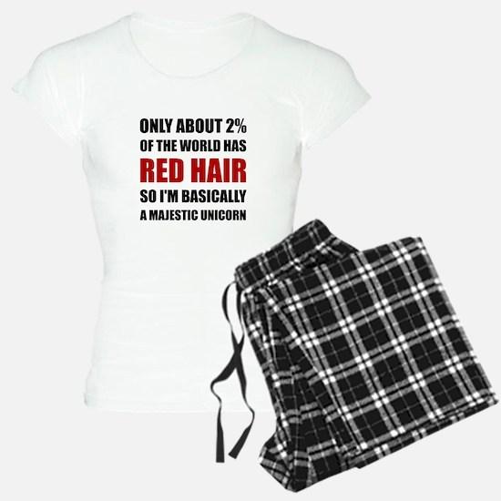 Red Hair Majestic Unicorn Pajamas
