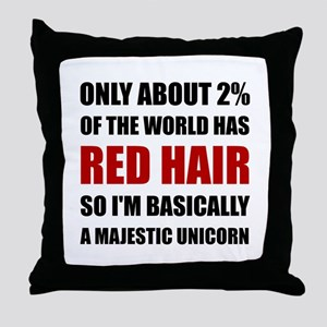 Red Hair Majestic Unicorn Throw Pillow