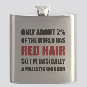 Red Hair Majestic Unicorn Flask
