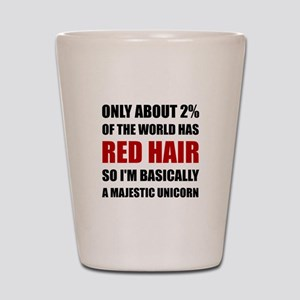 Red Hair Majestic Unicorn Shot Glass