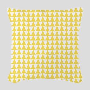 Yellow, Canary: Triangle Arrow Woven Throw Pillow