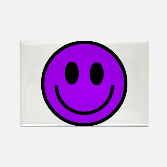 Classic Purple Smiley Face Rectangle Magnet
