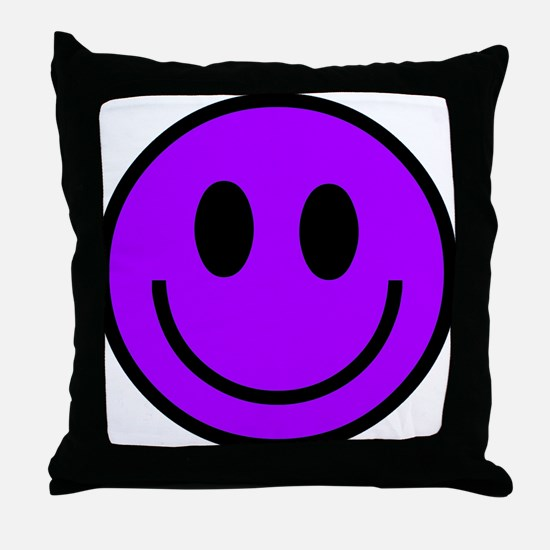 Classic Purple Smiley Face Throw Pillow