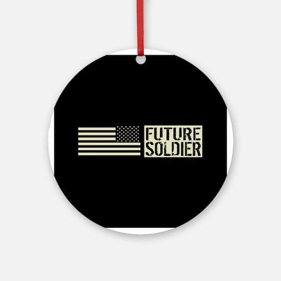 U.S. Army: Future Soldier (Black Fl Round Ornament