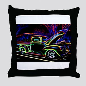 1940 Ford Pick up Truck Neon Throw Pillow
