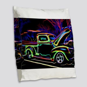 1940 Ford Pick up Truck Neon Burlap Throw Pillow