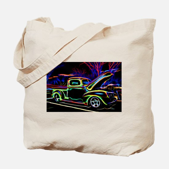 1940 Ford Pick up Truck Neon Tote Bag