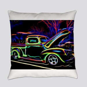 1940 Ford Pick up Truck Neon Everyday Pillow