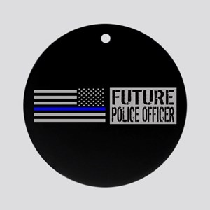 Police: Future Police Officer (Blac Round Ornament