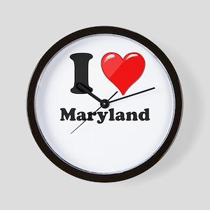 I Heart Love Maryland Wall Clock