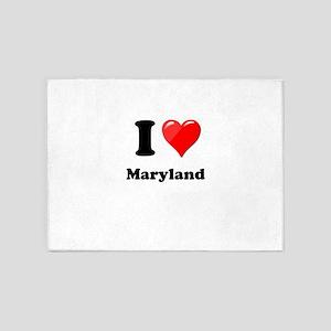 I Heart Love Maryland 5'x7'Area Rug