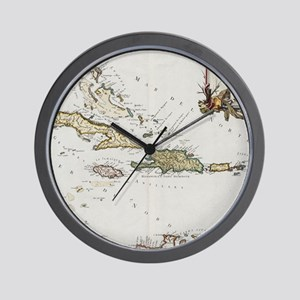 Vintage Map of The Caribbean (1779) Wall Clock