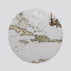 Vintage Map of The Caribbean (1779) Round Ornament