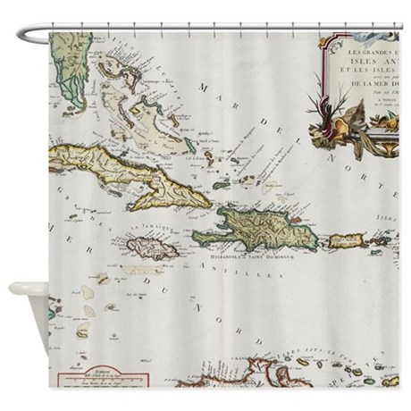 Vintage Map Of The Caribbean 1779 Shower Curtain By ADMIN CP17960464