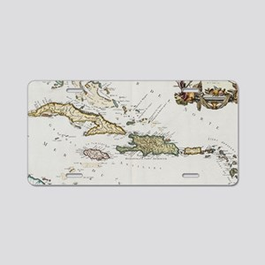 Vintage Map of The Caribbea Aluminum License Plate