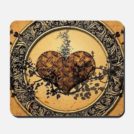 Heart made of rusty metal Mousepad