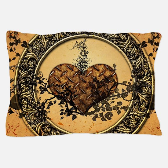 Heart made of rusty metal Pillow Case