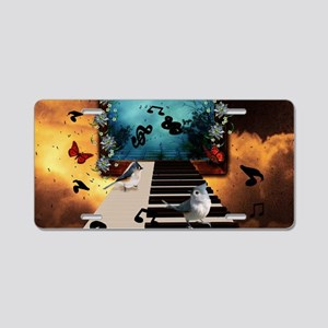 Music, piano with birds and butterflies Aluminum L