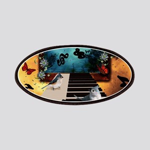 Music, piano with birds and butterflies Patch