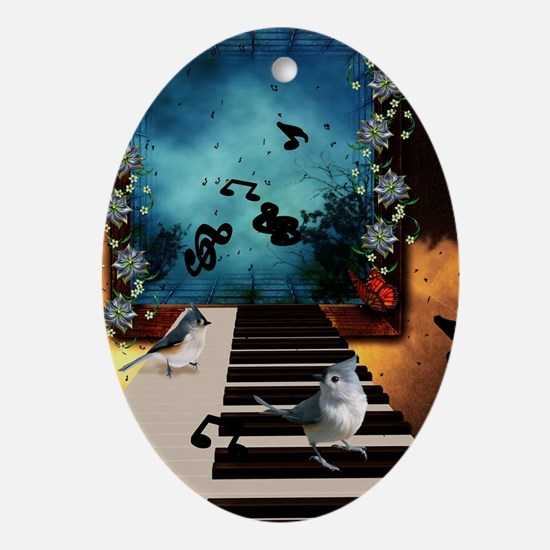 Music, piano with birds and butterflies Oval Ornam