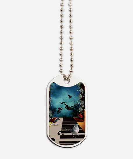 Music, piano with birds and butterflies Dog Tags