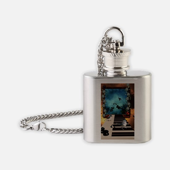Music, piano with birds and butterflies Flask Neck
