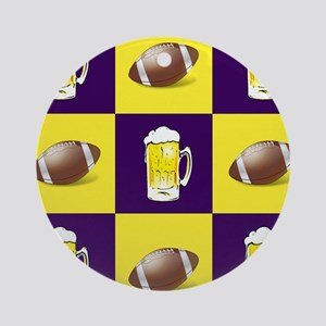 Football and Beer Purple and Gold Round Ornament