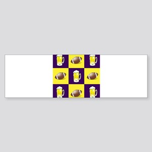 Football and Beer Purple and Gold Bumper Sticker