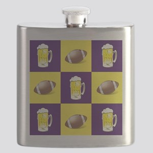 Football and Beer Purple and Gold Flask
