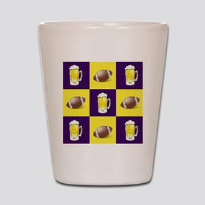 Football and Beer Purple and Gold Shot Glass