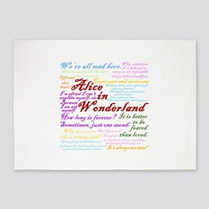 Alice in Wonderland Quotes 5'x7'Area Rug
