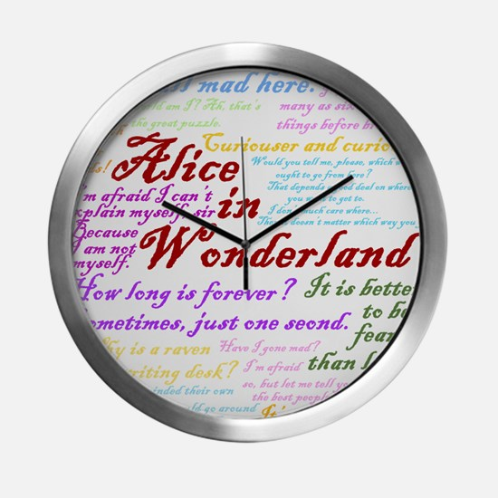 Alice in Wonderland Quotes Modern Wall Clock