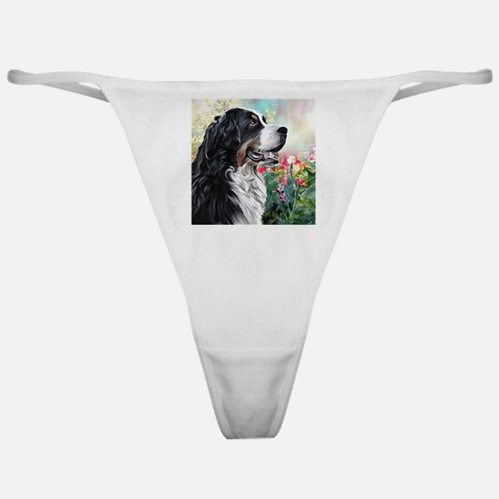 Bernese Mountain Dog Painting Classic Thong