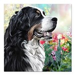 Bernese Mountain Dog Painting Square Car Magnet 3