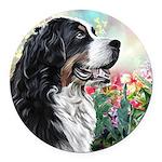 Bernese Mountain Dog Painting Round Car Magnet