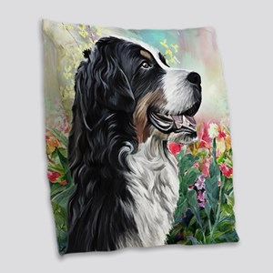 Bernese Mountain Dog Painting Burlap Throw Pillow