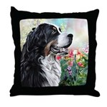 Bernese Mountain Dog Painting Throw Pillow